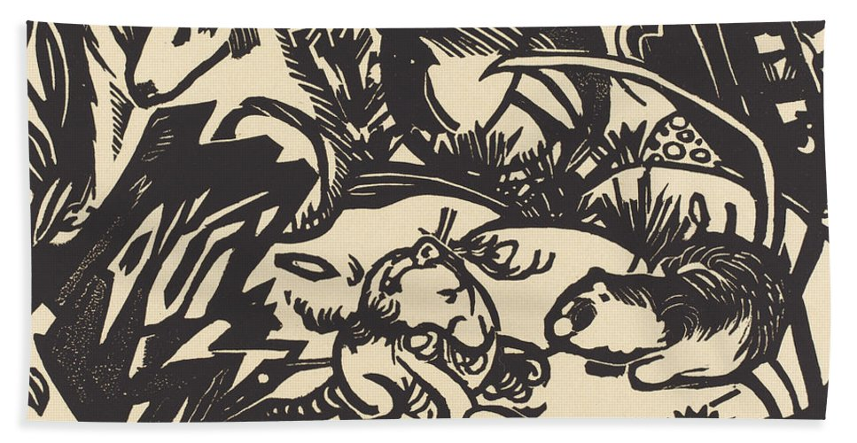 Beach Towel featuring the drawing Animal Legend (tierlegende) by Franz Marc