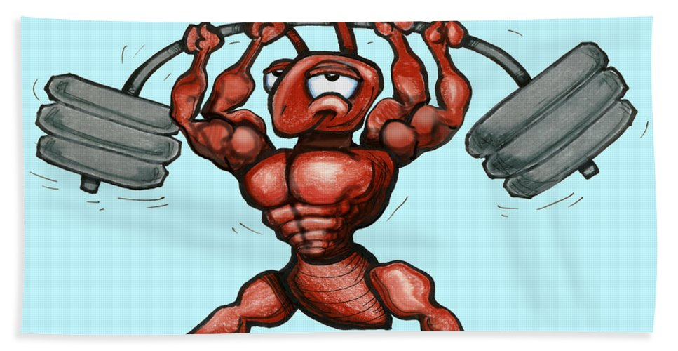 Gym Beach Towel featuring the greeting card Ant by Kevin Middleton