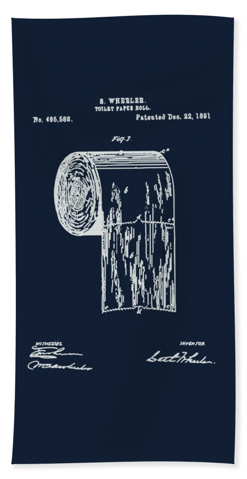 Antique toilet paper roll blueprint patent illustration beach bathroom art beach towel featuring the painting antique toilet paper roll blueprint patent illustration by tina malvernweather Gallery
