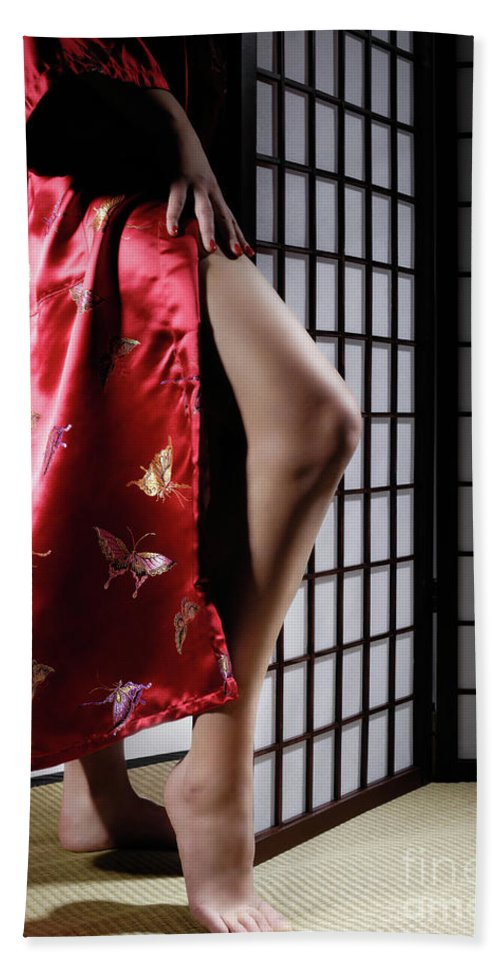 Asian Beach Towel featuring the photograph Asian Woman In Red Kimono by Maxim Images Prints