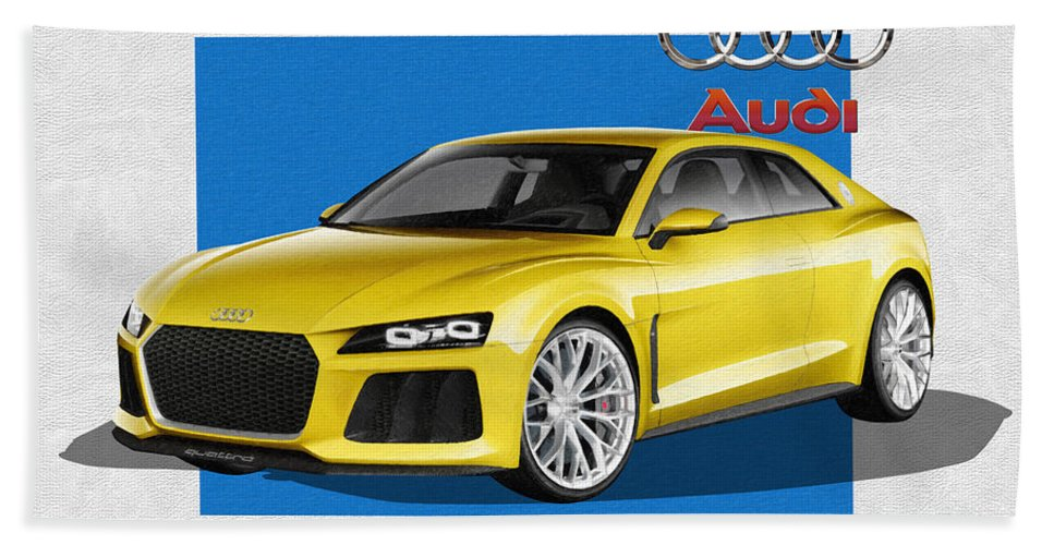 �audi� Collection By Serge Averbukh Beach Towel featuring the photograph Audi Sport Quattro Concept with 3 D Badge by Serge Averbukh