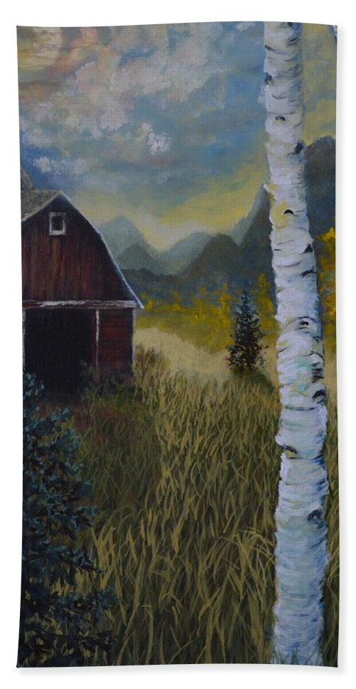 Autumn Beach Towel featuring the painting Autumn Red Barn by Kimberly Benedict