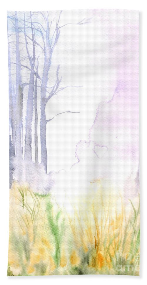 Watercolopr Painting Beach Towel featuring the painting Autumn by Sweeping Girl