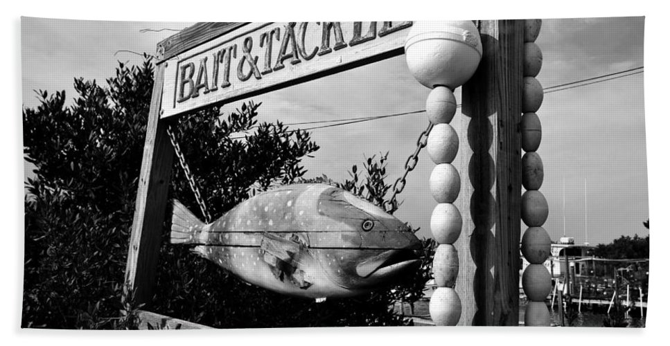 Bait And Tackle Shop Beach Towel featuring the photograph Bait And Tackle by David Lee Thompson