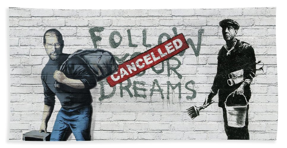 'urban Graffiti' Collection By Serge Averbukh Beach Towel featuring the photograph Banksy - The Tribute - Follow Your Dreams - Steve Jobs by Serge Averbukh