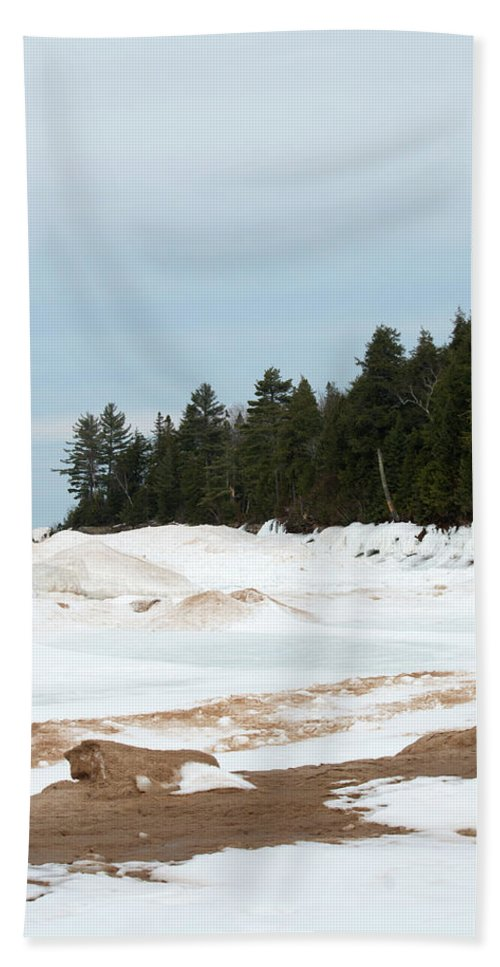 Lake Superior Beach Towel featuring the photograph Beach Of Ice by Linda Kerkau