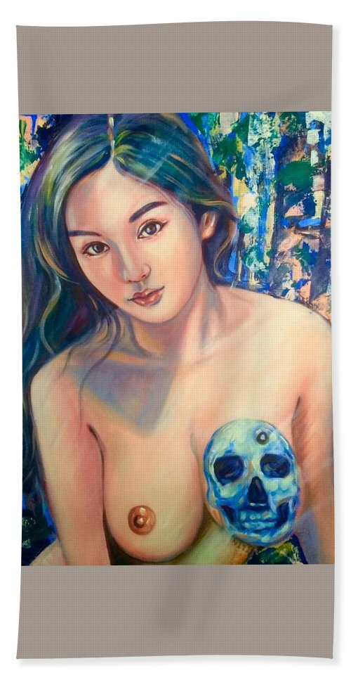 Beach Towel featuring the painting Beautiful And Dangerous by Niti Is a painter