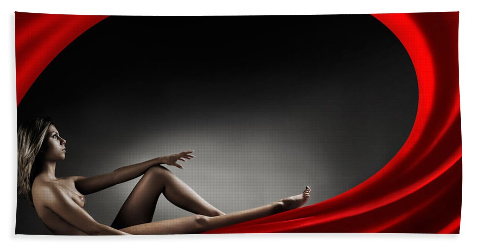Woman Beach Towel featuring the photograph Beautiful Woman In A Whirl Of Power by Maxim Images Prints