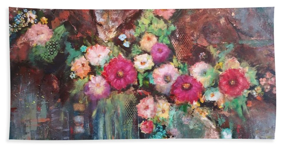 Flowers Beach Towel featuring the painting Beauty In The Cracks by Frances Marino