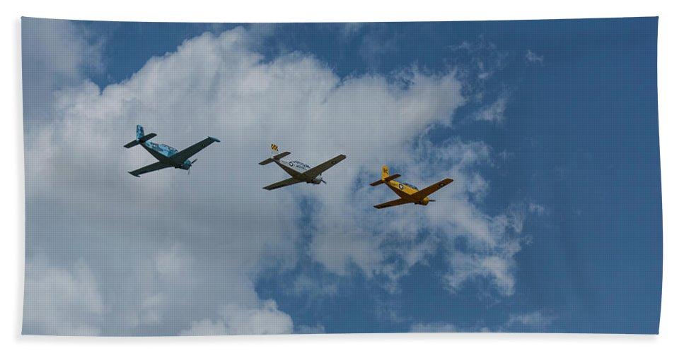 Aircraft Beach Towel featuring the photograph Beechcraft T-34 Mentor Airplane Trio 3 by John Brueske