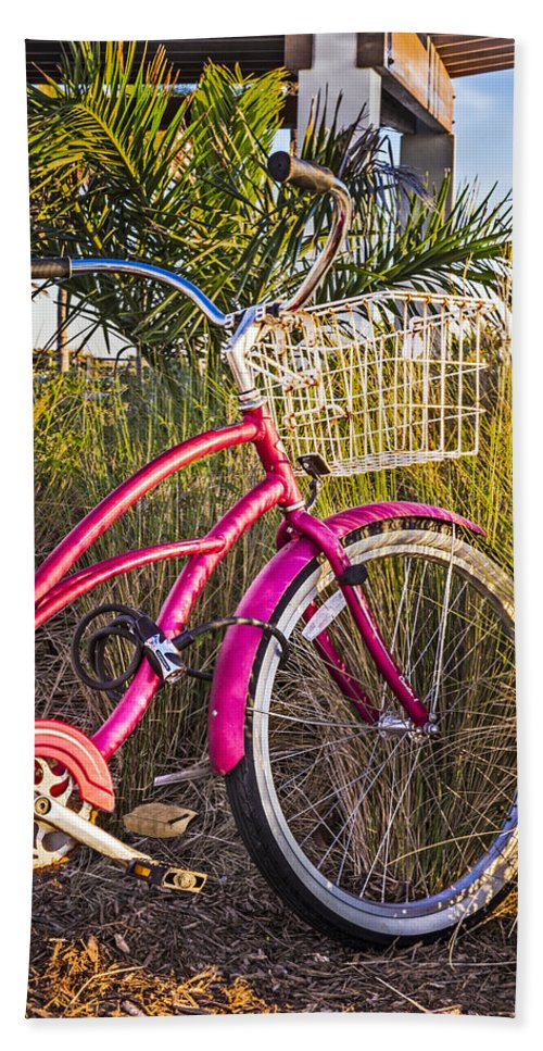 Clouds Beach Towel featuring the photograph Bicycle At The Beach II by Debra and Dave Vanderlaan