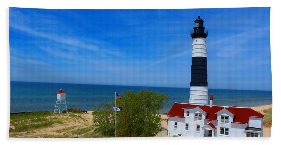 Lighthouse Beach Sheet featuring the photograph Big Sable Point Lighthouse by Michael Rucker