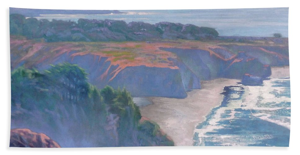 Big Sur Beach Towel featuring the painting Big Sur Coast by Sharon Weaver
