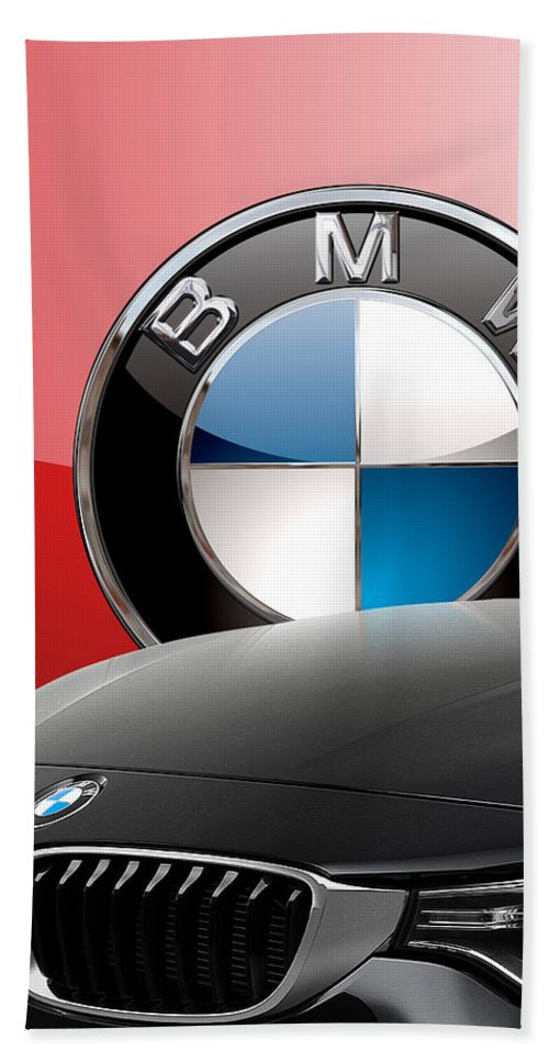 �auto Badges� Collection By Serge Averbukh Beach Towel featuring the photograph Black B M W - Front Grill Ornament and 3 D Badge on Red by Serge Averbukh