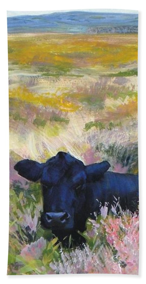 Dartmoor Beach Towel featuring the painting Black Cow Dartmoor by Mike Jory