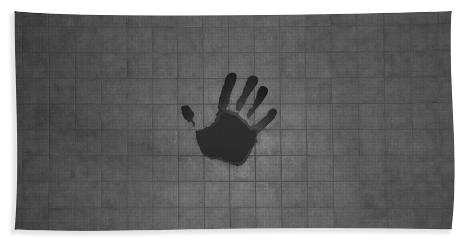 Hand Print Beach Towel featuring the photograph Black Hand by Rob Hans