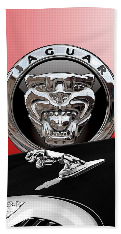 'auto Badges' Collection By Serge Averbukh Beach Towel featuring the photograph Black Jaguar - Hood Ornaments and 3 D Badge on Red by Serge Averbukh