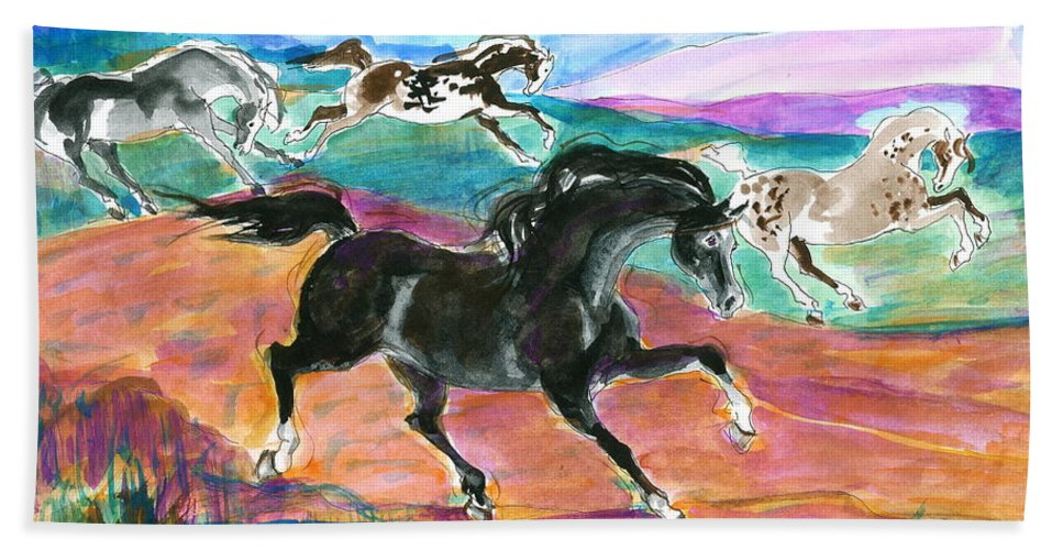 Mary Ogden Armstrong Beach Towel featuring the painting Black Pony by Mary Armstrong