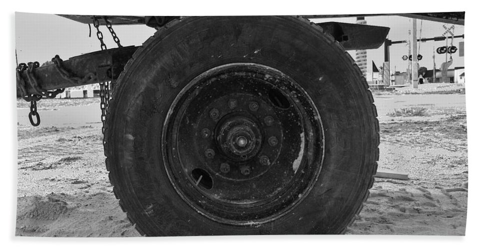 Black And White Beach Towel featuring the photograph Black Wheel by Rob Hans