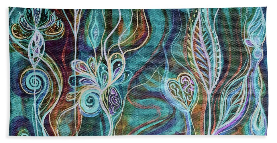 Intuitive Art Beach Sheet featuring the painting Bling Bling by Angel Fritz