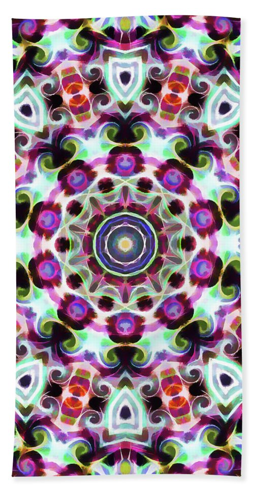 Mandala Art Beach Towel featuring the painting Bloom by Jeelan Clark
