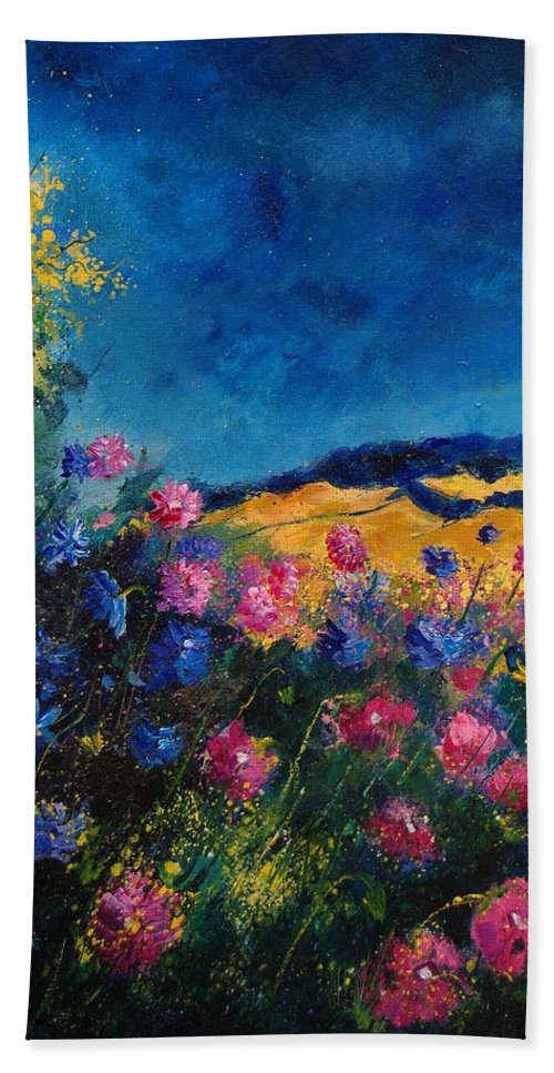 Flowers Beach Sheet featuring the painting Blue And Pink Flowers by Pol Ledent