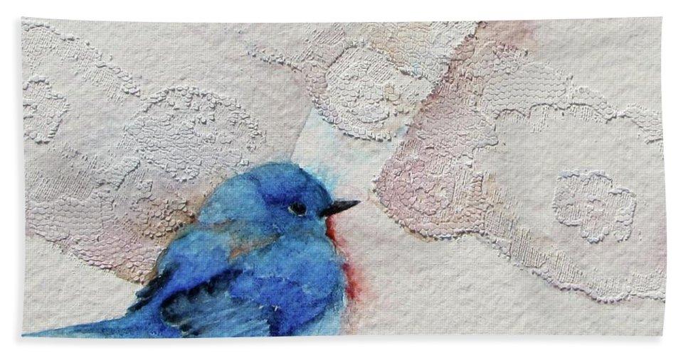 Bird Beach Towel featuring the painting Blue Bird by Nicole Gelinas