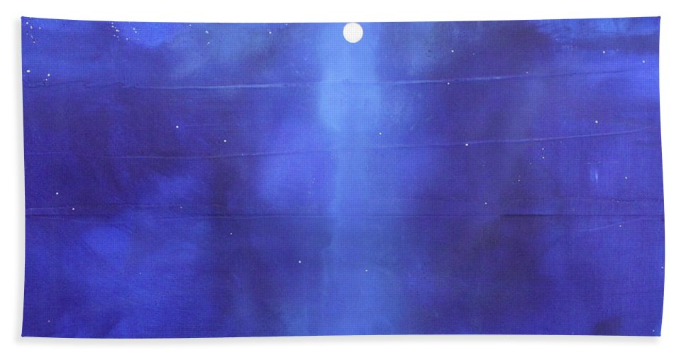 Night Beach Towel featuring the painting Blue Night Magic by Toni Grote