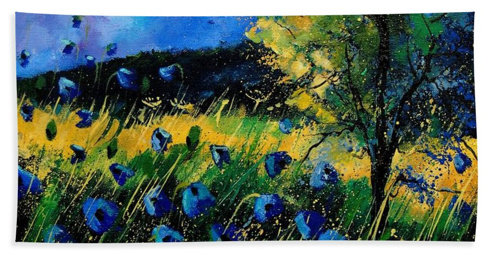 Poppies Beach Towel featuring the painting Blue Poppies by Pol Ledent