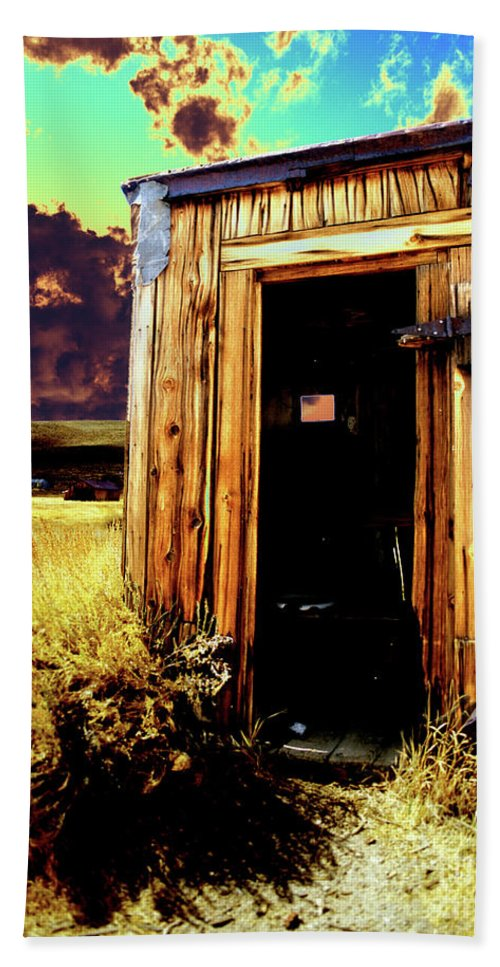 Bodie Beach Towel featuring the photograph Bodie Outhouse by Jim And Emily Bush