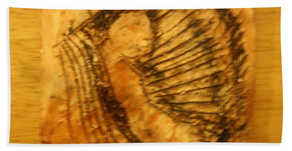 Jesus Beach Towel featuring the ceramic art Born Again - Tile by Gloria Ssali