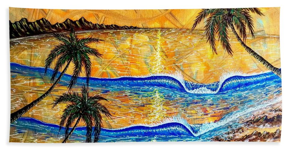 Sunset Beach Towel featuring the painting Breathe In The Moment by Paul Carter