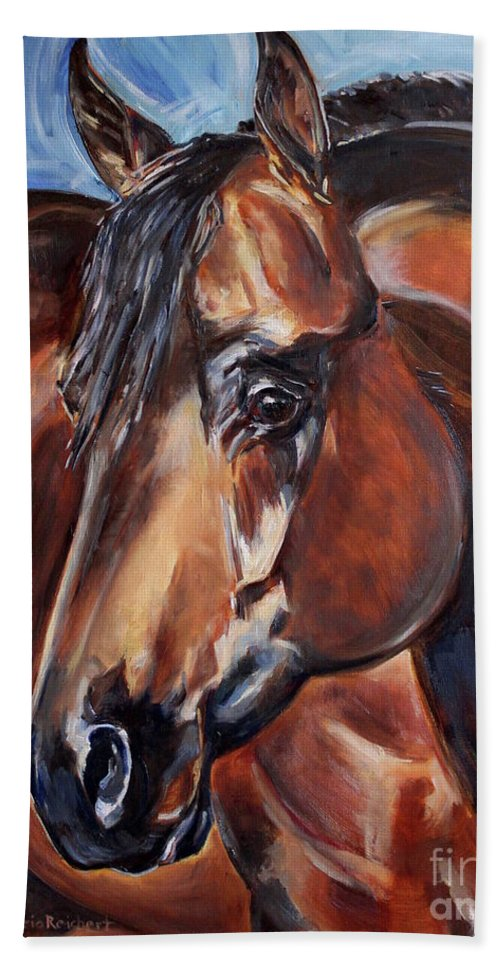 Horse Beach Towel featuring the painting Brown Horse by Maria Reichert