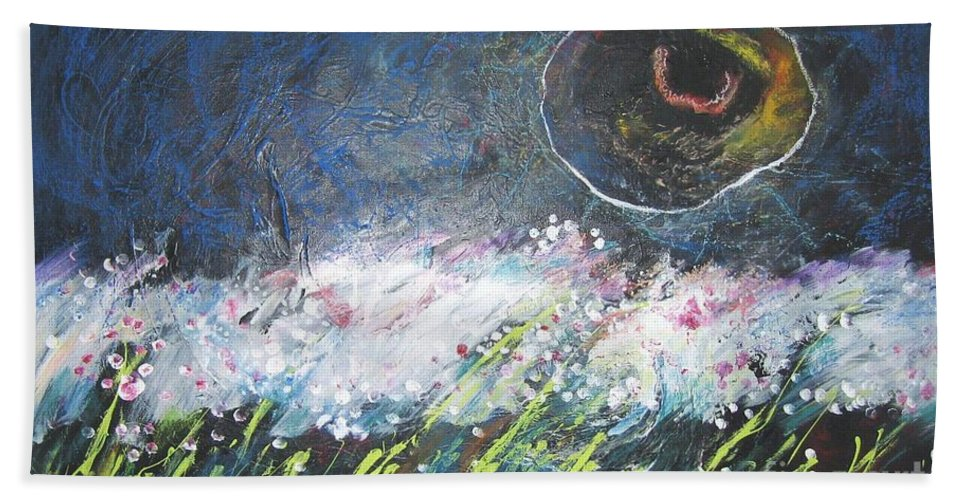 Aabstract Paintings Beach Sheet featuring the painting Buckwheat Field by Seon-Jeong Kim
