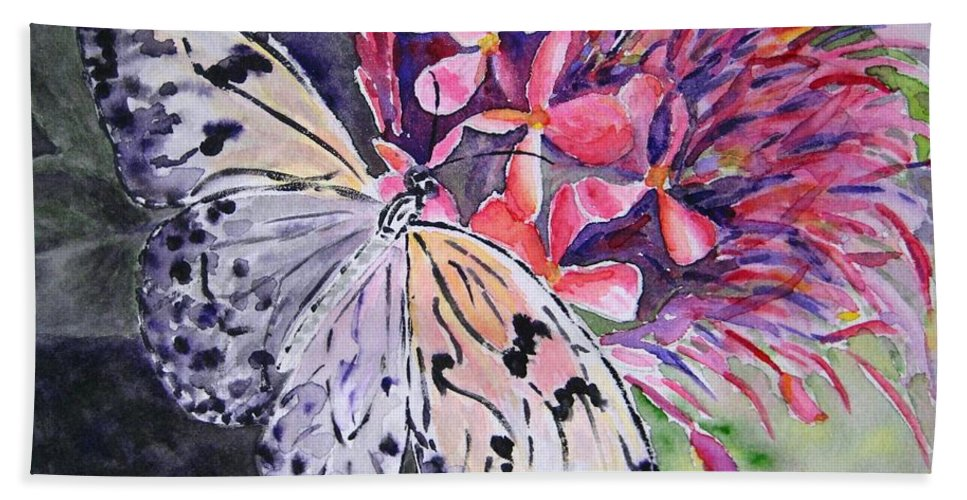 Butterfly Beach Towel featuring the painting Butterfly Enchantment by Corynne Hilbert