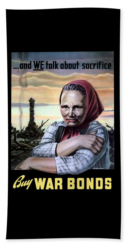 Wwii Beach Towel featuring the painting Buy War Bonds by War Is Hell Store