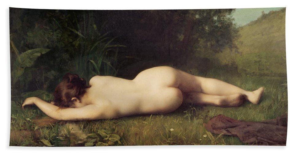 Byblis Beach Towel featuring the painting Byblis Turning into a Spring by Jean-Jacques Henner