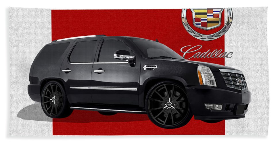 �cadillac� By Serge Averbukh Beach Towel featuring the photograph Cadillac Escalade With 3 D Badge by Serge Averbukh