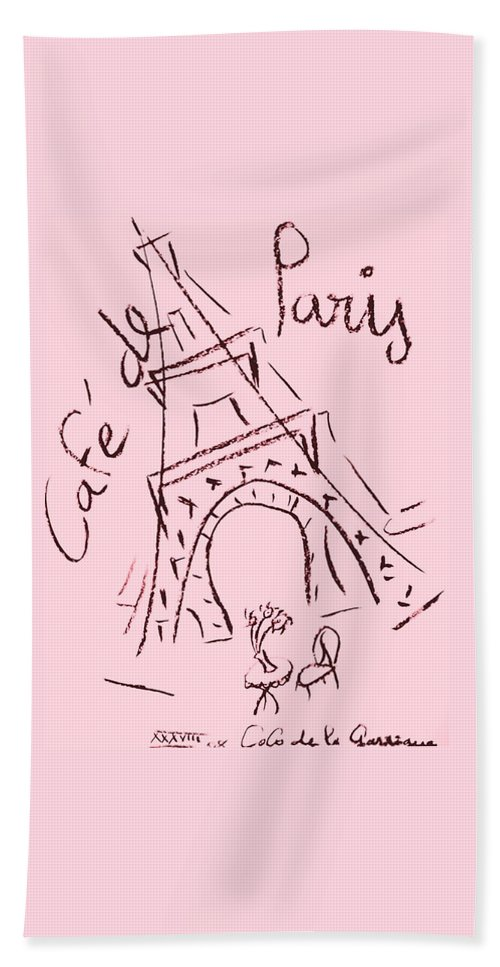Eiffel Tower. Beach Towel featuring the digital art Cafe De Paris by Coco de la Garrigue