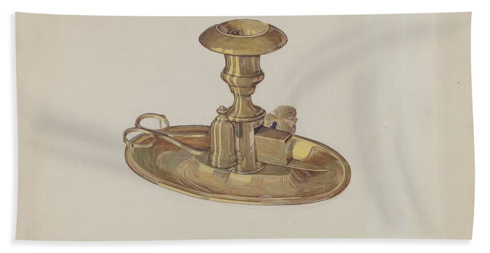 Beach Towel featuring the drawing Candlestick by Dorothy Posten