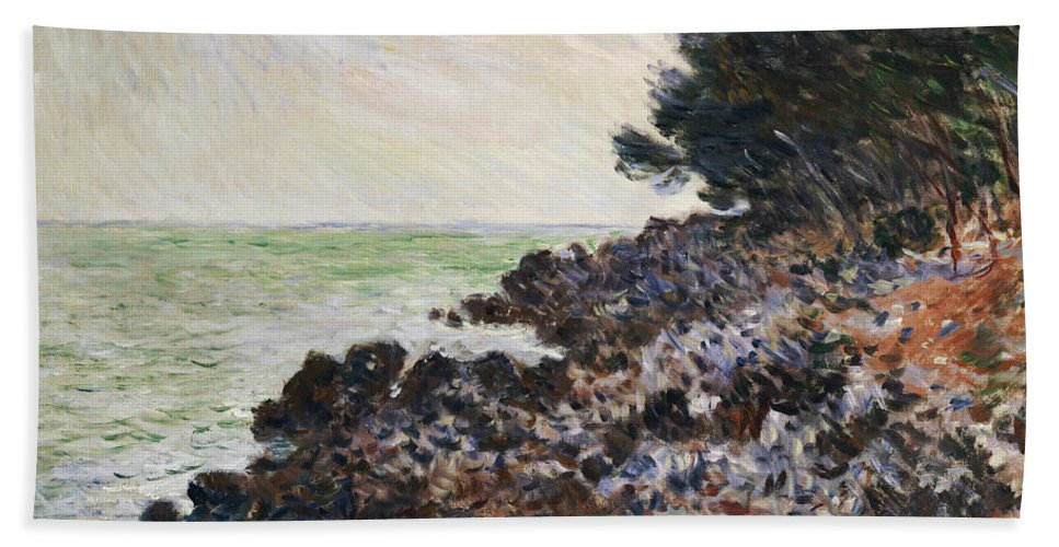 Cap Martin (oil On Canvas) Impressionism; Impressionist; Landscape; Seascape; Tree; Rock; Rocky; Coast; Coastal; Sea; Ocean; French Beach Towel featuring the painting Cap Martin by Claude Monet