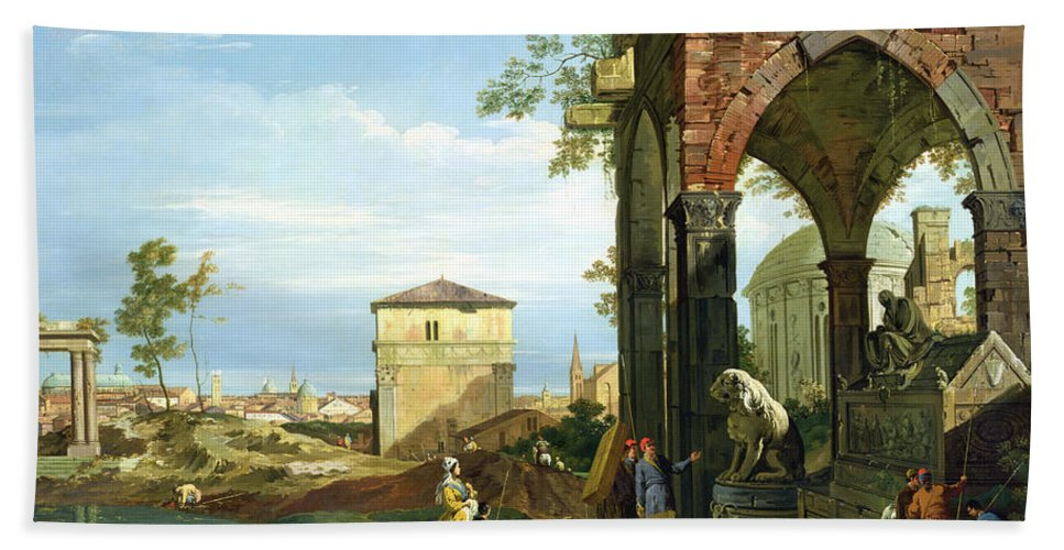 Canaletto Beach Towel featuring the painting Capriccio With Motifs From Padua by Canaletto