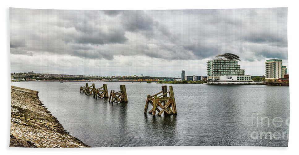 Cardiff Bay Beach Towel featuring the photograph Cardiff Bay Panorama by Steve Purnell