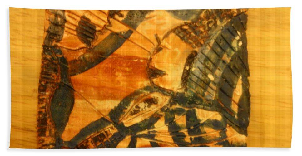 Jesus Beach Towel featuring the ceramic art Care - Tile by Gloria Ssali