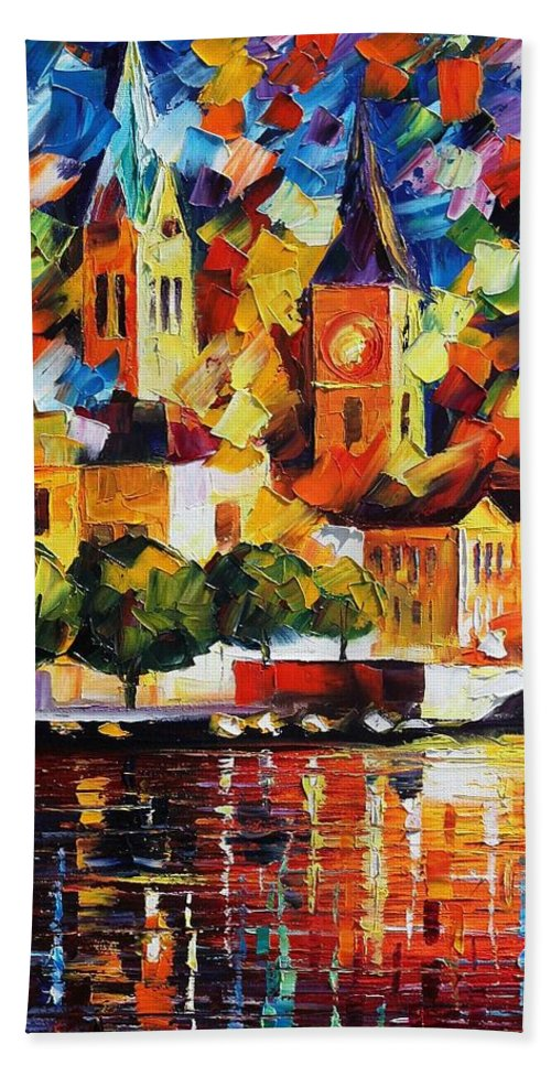 Afremov Beach Towel featuring the painting Castle By The River by Leonid Afremov