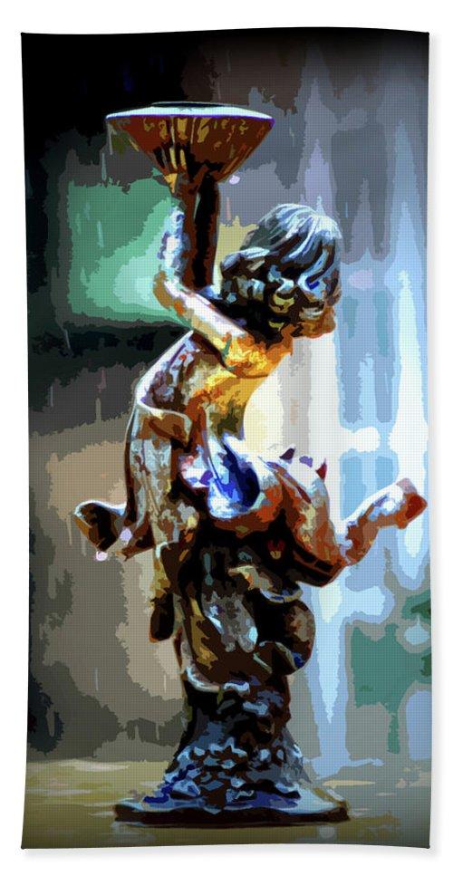 Digital Art Beach Towel featuring the digital art Catching Rain by Chris Brannen