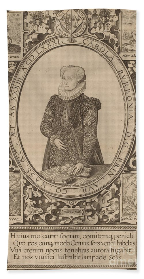 Beach Towel featuring the drawing Charlotte Of Bourbon by Hendrik Goltzius