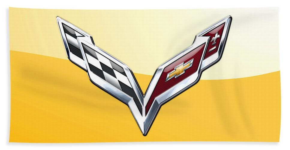 �wheels Of Fortune� Collection By Serge Averbukh Beach Towel featuring the photograph Chevrolet Corvette 3D Badge on Yellow by Serge Averbukh