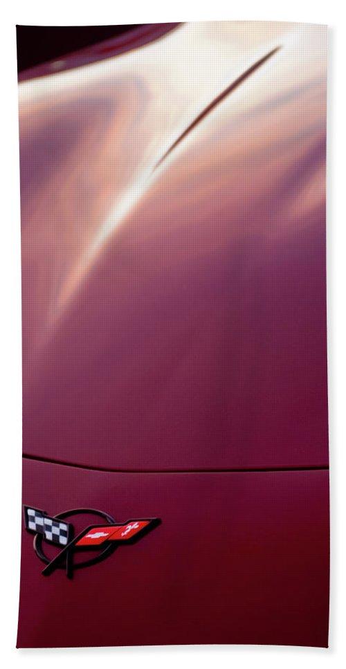 Corvette Beach Towel featuring the photograph Chevrolet Corvette Hood Emblem 2 by Jill Reger