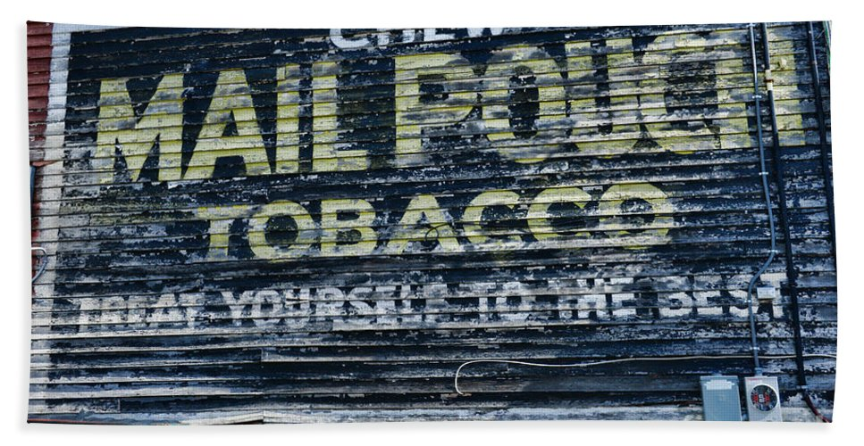 Paul Ward Beach Towel featuring the photograph Chew Mail Pouch Tobacco Ad by Paul Ward